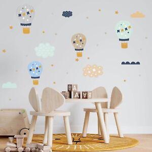 Heißluftballon, Wolken & Stern Wandtattoo Wandaufkleber Sticker Aufkleber Boho