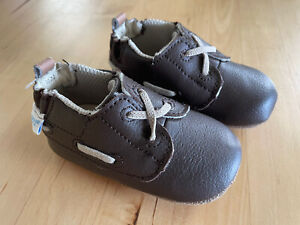 Robeez Boys Size 3 (6-9 months) Taupe Jon Loafer Shoes, Leather New