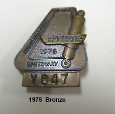 1975 Indy Indianapolis IMS 500 Speedway Bronze Pit Badge / Pin