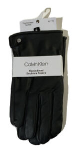 Calvin Klein Mens Faux Leather Fleece Lined Driving Gloves Black - Size XL