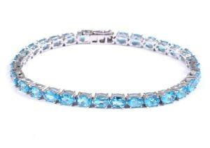 925 Silver Blue Topaz Tennis Bracelet 4x6 mm oval Blue Topaz Bracelet For Men