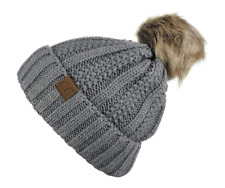 C.C Thick Cable Knit Faux Fur Pom Pom Beanie Light Gray Fleece Lined