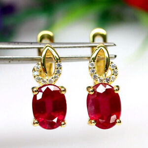 NATURAL 6 X 8mm. RED RUBY & WHITE CZ EARRINGS 925 SILVER STERLING