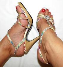 FLORAL DIAMANTE strappy SANDAL 7.5 / 8 summer heel shoe BUY 3+ ITEM= FREE POST