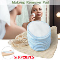 1/5/10/20pcs Bamboo Cotton Makeup Remover Pads Washable Facial Cleansing Pad