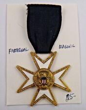 Masonic Iron Cross American Flag Shield Fraternal Pin Pinback Medal Badge Ribbon