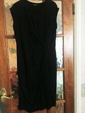 VGC Marks & Spencer Plain Jet Block BLACK TWISTED FRONT Stretchy Dress 14 M&S