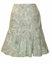 Alaia Green and White Paisley Pencil Skirt Flared Ruffle FR 38 4/6 XS S