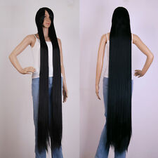 "black Extra Long Cosplay wig Cosplay Party Costume Anime Hair 60 ""/150cm"