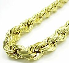 10K Yellow Gold 1.8mm - 8mm Men's Women's Hollow Diamond Cut Rope Chain Necklace