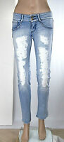 Jeans Donna Pantaloni MET Made in Italy Slim Fit SA132 5 Tasche Blu Tg 26