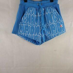Champion Womens Blue Life Reverse Weave Shorts Bubble Script Active XS WP-377
