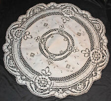 "Antique Torchon Cluny Bobbin Lace Tablecloth Linen Centerpiece 53"" Round"
