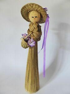 Vintage Staw Wicker Kokeshi Doll with Purple Silk Flowers, 9.5 Inch Doll
