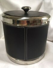 Metrokane VIP Stainless Dbl Wall Faux Black Leather Ice Bucket Equestrian Style