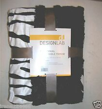 JCP Velvet Plush Zebra Print Throw Blanket Reversible to Black 50x70 NWT