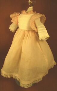"""Vintage Doll Dress for 13""""-14"""" Bisque Doll - Pink & White Batiste w/Ruffles"""