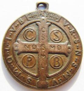 Large Antique St. Benedict Shield bronze Holy Medal Catholic Patron Exorcism