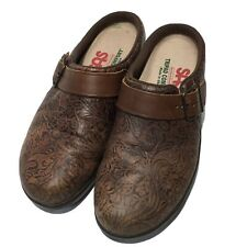 SAS Brown Cowboy Floral Tooled Leather Slip On Clogs  Women 6.5 M