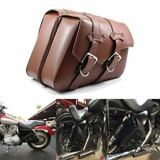 For Harley Sportster XL 883 XL 1200 Brown Leather Luggage Saddle Bag Tool Bags
