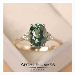 Green Moissanite 2.32Ct Oval Cut Diamond Women Yellow Gold Delicate Vintage Ring