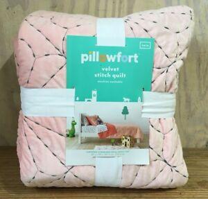 "Pillowfort Velvet Stitch Quilt Blanket Plush Twin Reverse Pink Peach 66"" x 88"""