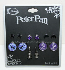 Disney Peter Pan Earrings Never Grow Up 6 Pair Stud & Fish Hook Purple Jewel NEW