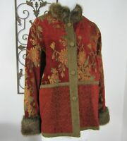 Isabellas Journey Red Tapestry Jacket Long Sleeve Coat Size XXL RED Faux Fur