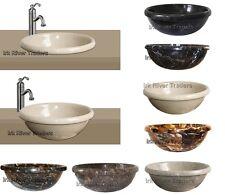 Marble Stone Sink Bathroom Basin Inset Drop-in Self Rimming Wash Bowl Bath Round