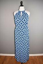 SOUTHERN TIDE $168 Harper Maxi Dress in Mosaic Print Blue Halter Keyhole Large