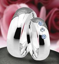 2 Silber 925 Trauringe mit echten Blautopas und echten Diamant & Gravur  J11-3BD