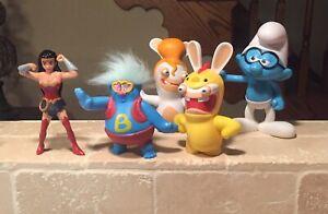 Burger King Kids Meal Toy Lot Smurf Biggie Dc Comics Rabbids