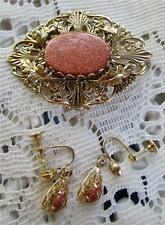 Cooper Glitter Lucite Brooch with Earrings Screw Backs Pendant Victorian Vintage