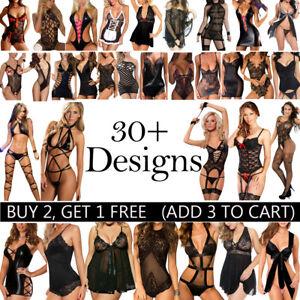 Women Sexy Black Lingerie Underwear Babydoll Bodysuit Erotic Sleepwear Nightwear