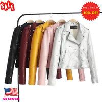 Womens Moto Biker Short Coats Tops Long Sleeve Slim Lapel Zipper Jacket Outwear