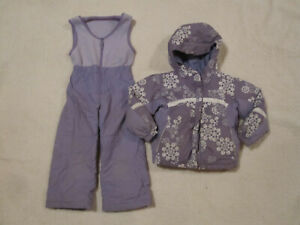 Girls COLUMBIA 2 Pc Snowsuit Omni-Shield LAVENDAR Reversible Jacket Youth 4/5