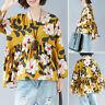 ZANZEA Women Long Sleeve Floral Print Shirt Tops Split Asymmetrical Blouse Plus
