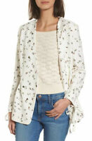Hinge Womens Small Ivory Floral Open Front Tie Sleeve Jacket Blazer NWT