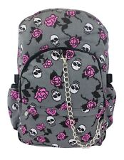 GREY SKULL PINK ROSE Tattoo Backpack Rucksack School College Goth Rock Punk Bag