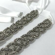 Silver Gem Braided Rhinestones Bridal Sash Belt Satin Silk Tie