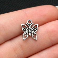 12 Small Butterfly Charms Antique Silver Tone - SC1881
