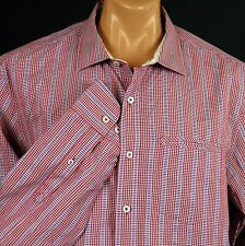 Tommy Bahama LS Shirt Mens XL Check Striped Red Blue 100% Cotton