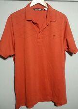 Travis Mathews XL Polo Embroidered Bali Hai Orange Cotton Blend Short Sleeve Z28