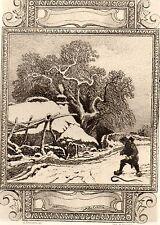 EAU FORTE / Fables de la Fontaine 1883 / LE VILLAGEOIS ET LE SERPENT