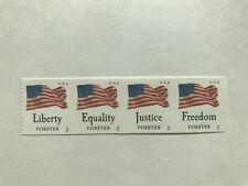 "Us Stamp, Strip of 4 Flags ""Equality, Justice, Freedom, Liberty"" Forever Mnh"