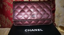AUTH NEW CHANEL BURGUNDY WALLET ON CHAIN WOC BAG PATENT LEATHER QUILTEDw/RECEIPT