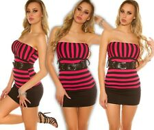 Sexy Bandeau Top Striped with Belt Push up Summer Top Blouse Shirt Longtop FC