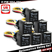 6Pack 5Pin 12V 40Amp Relay Harness Kit Spdt Automotive Relay Wires Socket