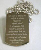 LORD'S PRAYER OUR FATHER SPANISH Oración del Señor española DOG TAG STAINLESS