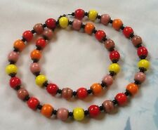 Harlequin Necklace Red Orange Yellow Pink Czech Glass Beads Vintage Deco Style